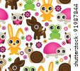 seamless set animal kids pattern background in vector - stock vector