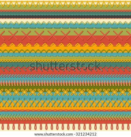 Seamless sewing pattern. Vector high detailed stitches and seams on textile background. Boundless background. - stock vector