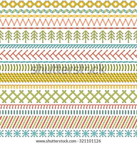 Seamless sewing pattern. Vector high detailed stitches and seams on white background. Boundless background. - stock vector