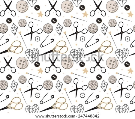 Seamless sewing tools pattern - stock vector