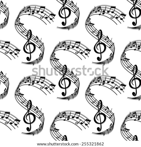 Seamless sheet music pattern with repeated ornament of wavy stave, treble clef and notes of different durations suited for flyleaf or art design - stock vector