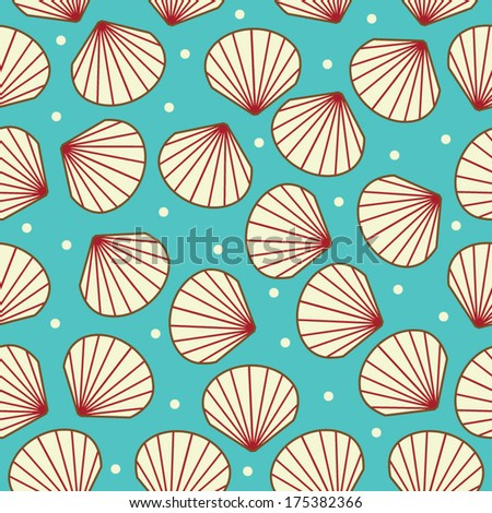 Seamless Shell Pattern in Vector