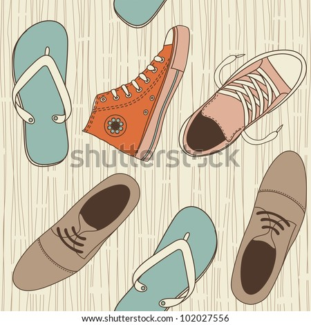 seamless shoes pattern - stock vector
