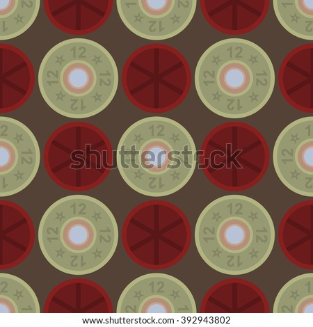 Seamless shotgun shell cartridges top and bottom, like fold in the box, on grey background - stock vector