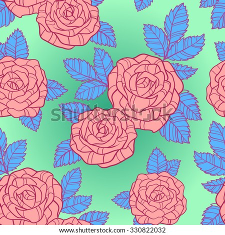 Seamless silhouette with  pink roses and blue leaves