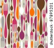 Seamless Silverware Pattern - stock vector