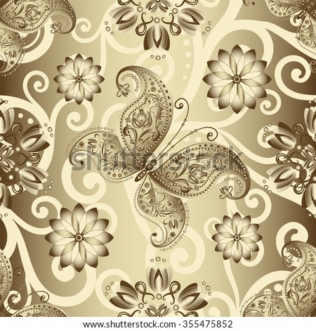 Seamless silvery pattern with vintage butterflies and flowers, vector  - stock vector