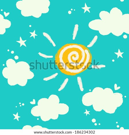 Seamless simple pattern with cute clouds and sun. - stock vector