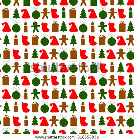 Seamless simple vector pattern for Christmas with tree, ball, gift, candle, gingerbread man and hat - stock vector
