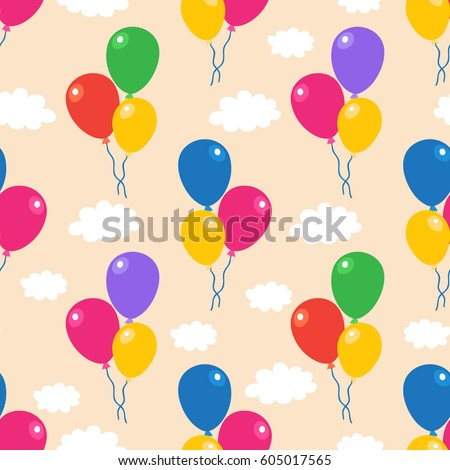 Seamless Simple Vector Pattern Colorful Air Stock Vector 605017565 ...