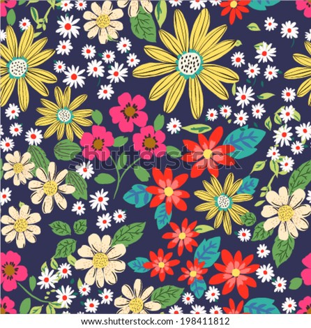 seamless sketch daisy flower vector pattern background - stock vector
