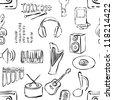 seamless sketch music pattern - stock vector