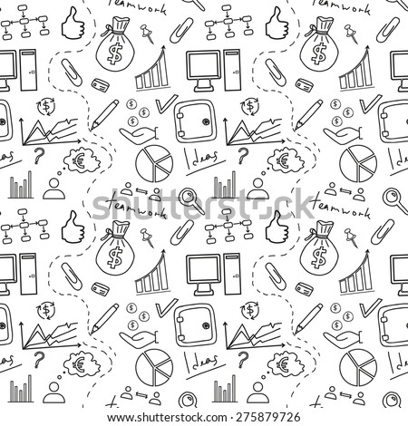 Seamless sketch of business doddle elements. Vector illustration.