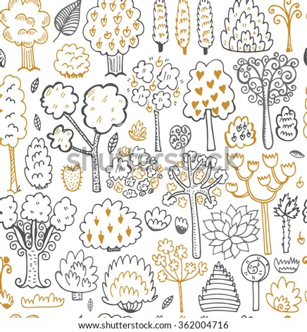 Seamless sketch pattern with trees and leaves. Vector Illustration. - stock vector