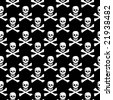 Seamless skull and crossbones texture - stock photo