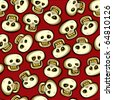 Seamless skulls background, tribal cartoon pattern. Layered, easy to edit. - stock vector