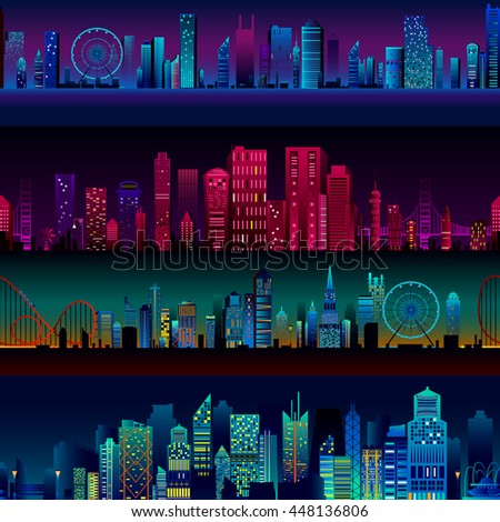 Seamless skyscraper building pattern background in vector