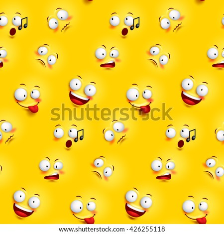 Seamless smiley face pattern funny facial seamless smiley face pattern with funny facial expressions in continuous yellow background vector illustration voltagebd Gallery