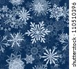 Seamless snowflakes background for winter. Vector illustration. - stock vector