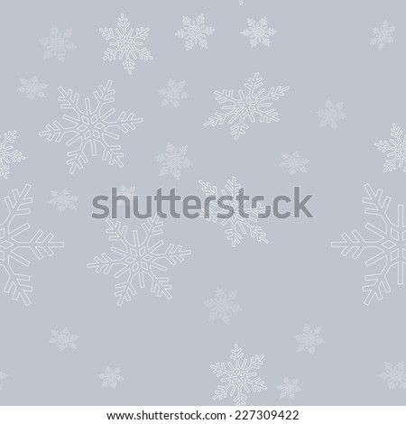 seamless snowflakes grey background for the new year and Christmas design - stock vector