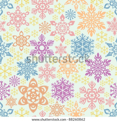 Seamless snowflakes pattern. Easy to change colors. - stock vector