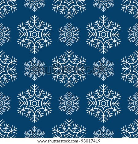 Seamless snowflakes pattern. vector - stock vector