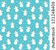 Seamless snowmans pattern. vector - stock vector
