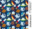 seamless space pattern - stock photo