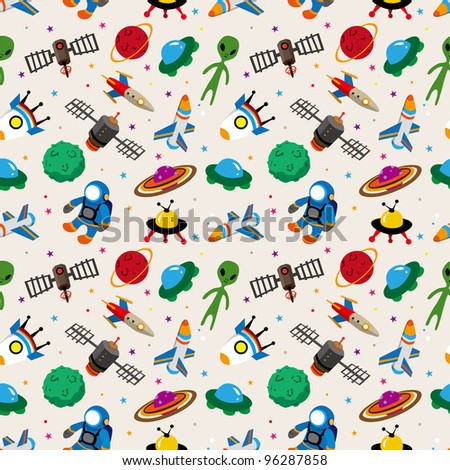 seamless space pattern - stock vector