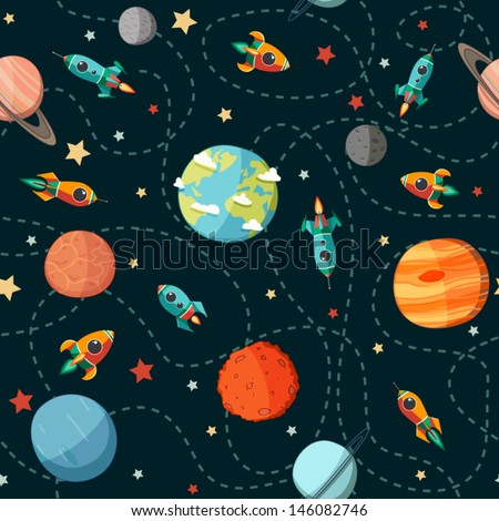Seamless space pattern. Planets, rockets and stars. Cartoon spaceship icons. Kid's elements for scrap-booking. Childish background. Hand drawn vector illustration.  - stock vector