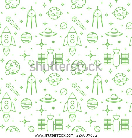 Seamless space pattern. Planets, rockets and stars. Childish background.  - stock vector