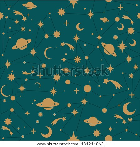 Seamless space vector pattern. - stock vector