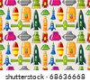 seamless Spacecraft pattern - stock photo