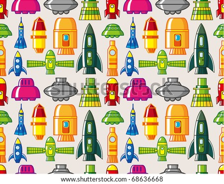seamless Spacecraft pattern - stock vector
