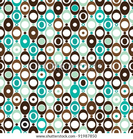 Seamless sphere seventies mod pattern background in vector - stock vector