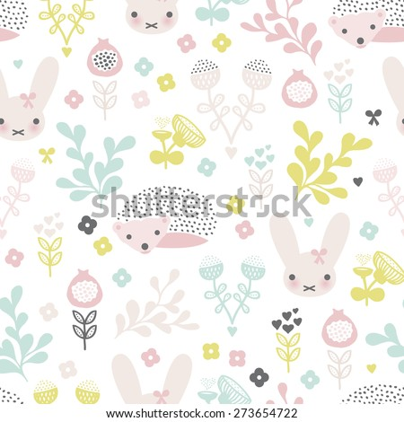 Seamless spring animals and blossom flower garden illustration kids background pattern in vector - stock vector