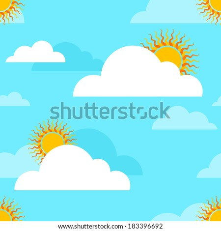 Seamless spring background with clouds and sun