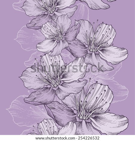 Seamless spring background with flowers of apple, hand-drawing. Vector illustration. - stock vector