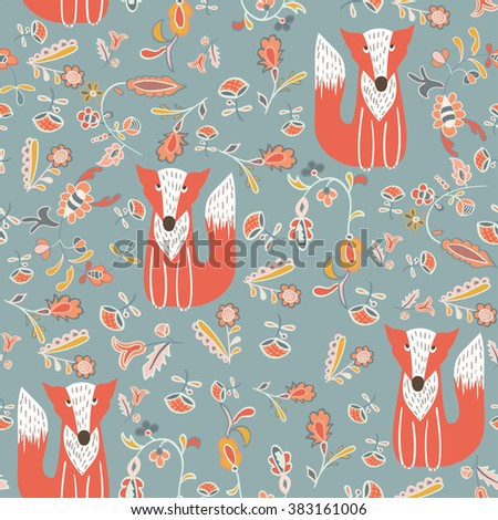 Seamless spring background with Fox and floral elements. - stock vector