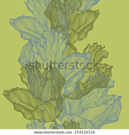Seamless spring background with tulips, hand-drawing. Vector illustration. - stock vector