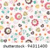 seamless spring cute vintage rose pattern background - stock vector