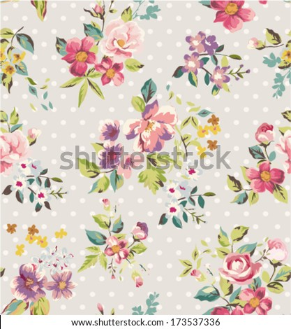 seamless spring flower vector pattern dots background - stock vector