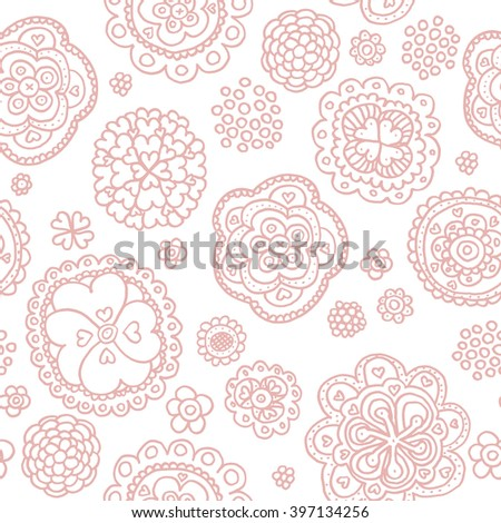 Seamless spring flowers and summer theme blossom hand drawn illustration background pattern in vector soft pink - stock vector