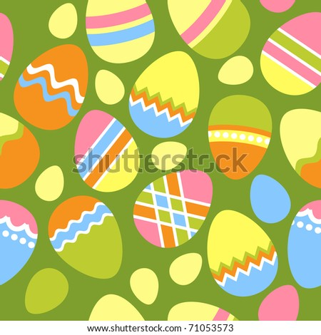 Seamless spring green pattern with easter eggs - stock vector