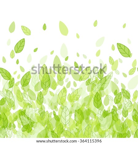 Seamless spring green strip background with leaves. Spring abstract vector background. Green transparent spring leaves. Paper spring design. Spring season, spring wallpaper, spring time, spring design - stock vector