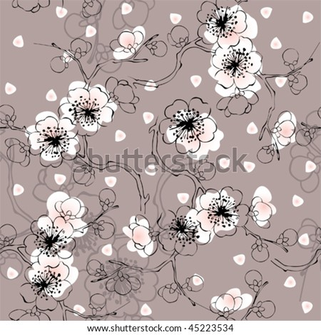 seamless spring pattern of blossom cherry. Will tile endlessly