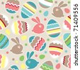 Seamless spring pattern with easter eggs and rabbits - stock photo