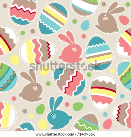 Seamless spring pattern with easter eggs and rabbits - stock vector