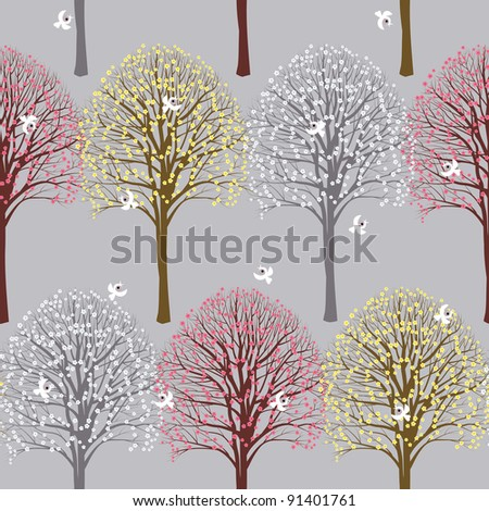 Seamless spring pattern with flowering trees - stock vector