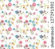 seamless spring summer tiny flower vector pattern background - stock vector
